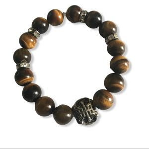 "Handmade Tiger-eye gemstone bracelet 7"" size"